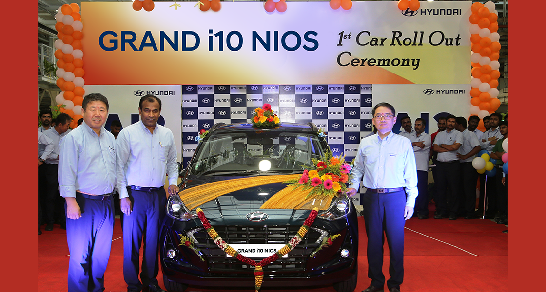 The Nios is the third new model by Hyundai this financial year after the Venue followed by the Kona. The first unit of the Grand i10 Nios was rolled out on August 12 at the Chennai-based plant of Hyundai. (Image: Hyundai)