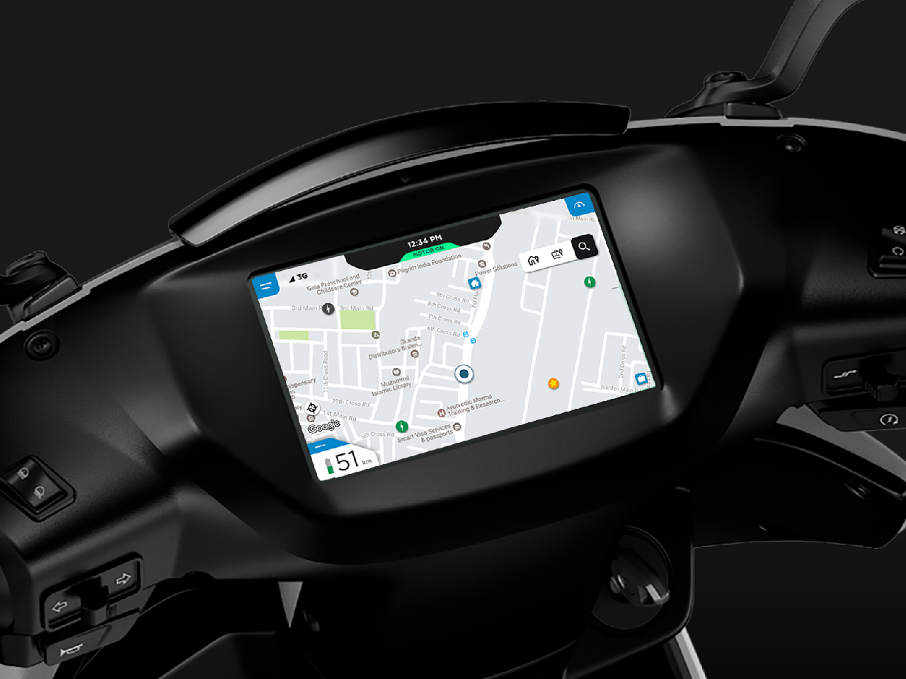 The navigation map display on Ather's scooter
