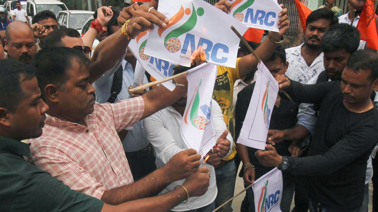 Hindu Yuba Chatra Parisad members protest against the release of NRC final draft in Guwahati. More than 19 lakh people have been left out and over 3.11 crore are included in the final NRC list in Assam. (Image: PTI)