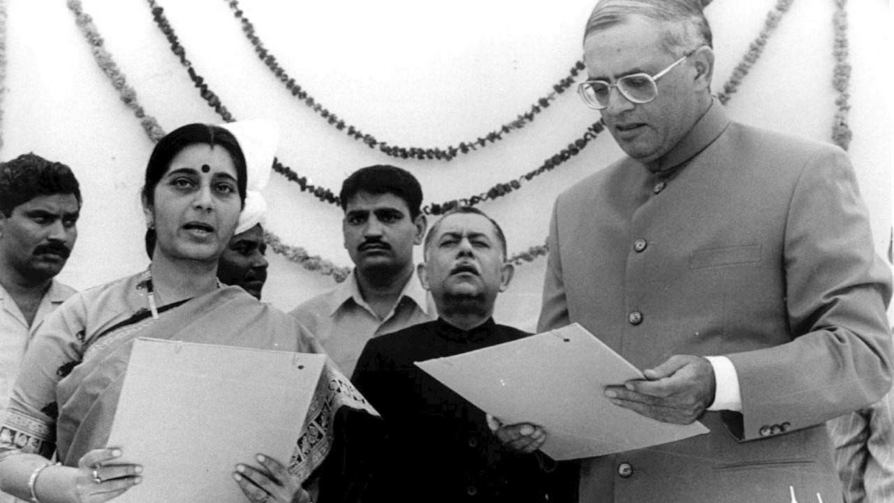 Sushma Swaraj had a stellar political career which included many firsts: She was the first woman Chief Minister of Delhi, first woman spokesperson of a national party, first woman BJP Leader of Opposition in Parliament, first woman BJP Union Cabinet minister, first woman BJP General Secretary and the first full-time woman Minister of External Affairs. (Image: PTI)