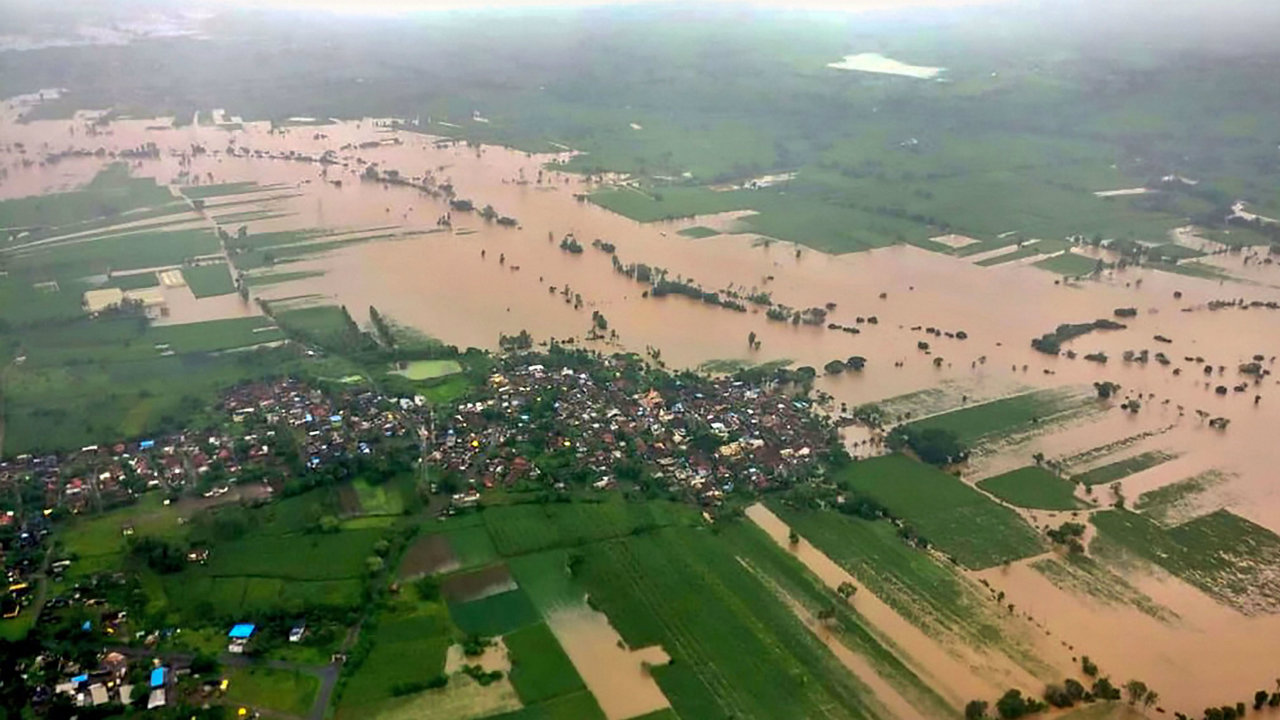 An aerial view of a flooded area in Kolhapur district, August 8, 2019. (Image- PTI)