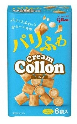 Answer: Cream Collon from Glico are small cream filled biscuits . Its one of those Japanese candies that English speakers find funny. The pun is pretty evident for native Japanese speakers though – Daichou in Japanese is large intestine