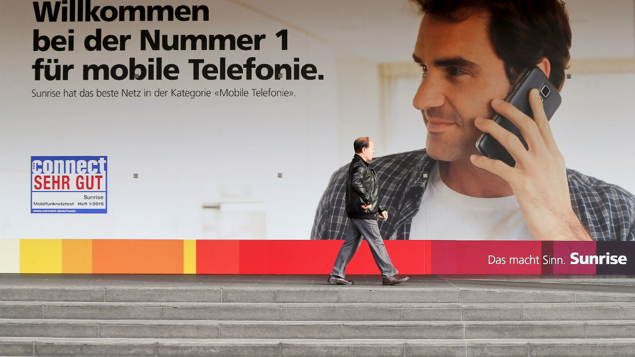 Federer endorses Switzerland's largest private telecommunications operator Sunrise. He was roped by Sunrise for $7 million for a period of 5 years from 2014-2019. (Image: Reuters)