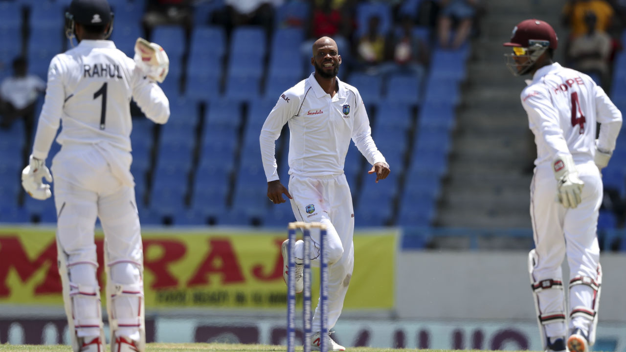 Roston Chase was introduced into the attack soon after the lunch and the spinner struck in his first over getting Rahul caught behind by Shait Hope. Rahul made 44 off 97 deliveries as India were 93/4. (Image: AP)