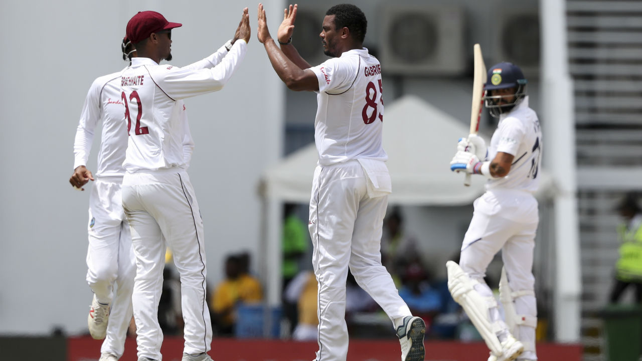 There was no respite for India as Shannon Gabriel got the big wicket of Virat Kohli in the 8th over of Indian innings. Kohli made 9 as India were reduced to 25/3. (Image: AP)