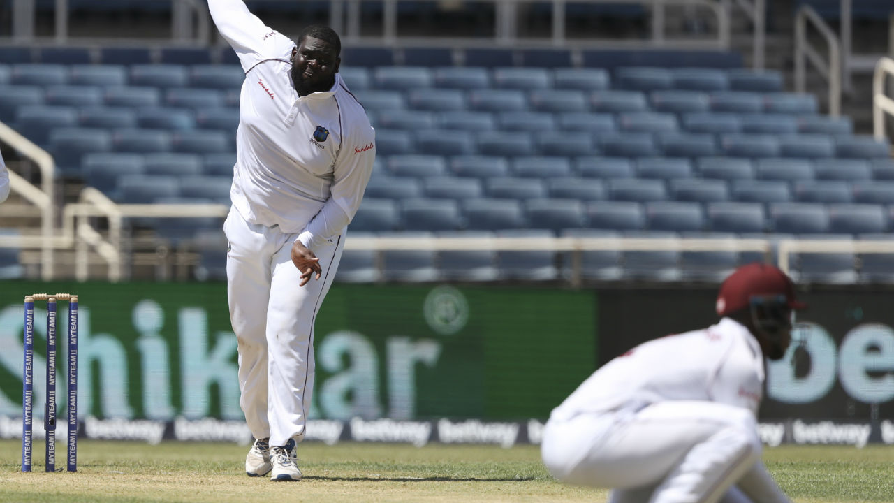 Windies bowlers kept the Indian batsmen on a tight leash and Cornwall forced Cheteshwar Pujara to cut a delivery in the 17th over and the ball was pouched by Shamarh Brook. Pujara made 6 off 25 as India were 46/2 after 17 overs. (Image: AP)