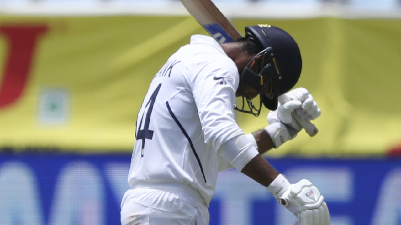 Agarwal's innings however was brought to an end in the very next over as Holder sent down a sharp bouncer which took a massive outside edge on its way back to Cornwall at first slip. Agarwal returned with 55 runs from 127 balls becoming Holder's second victim. (Image: AP)