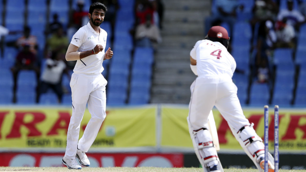 Jasprit Bumrah was rested following India's gruelling World Cup campaign and was in red-hot form when he returned to action in India's 1st Test at Antigua recording figures of 8-4-7-5 against the West Indies in the 2nd innings. He carried that form into the 2nd Test at Jamaica picking up his first Test career hat-trick. Let's take a quick look at each of Bumrah's wickets from Day 2 of the Test at Sabina Park. (Image: AP)