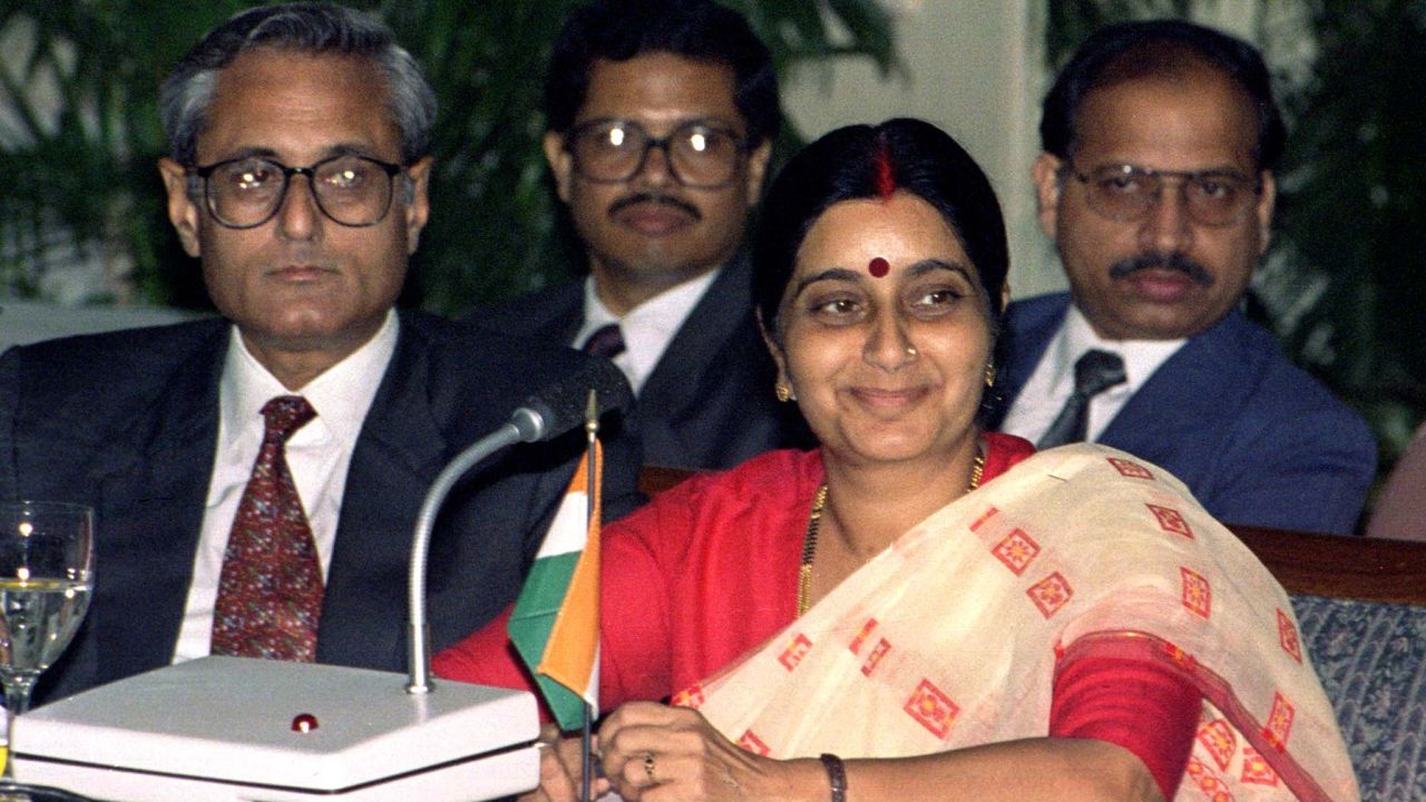 At the age of 25 in 1977, Sushma Swaraj became the youngest Cabinet minister of Haryana. She became the State President of Janata Party (now Bharatiya Janata party) in Haryana, in 1979. Later, Swaraj became a national leader of BJP. (Image: Reuters)