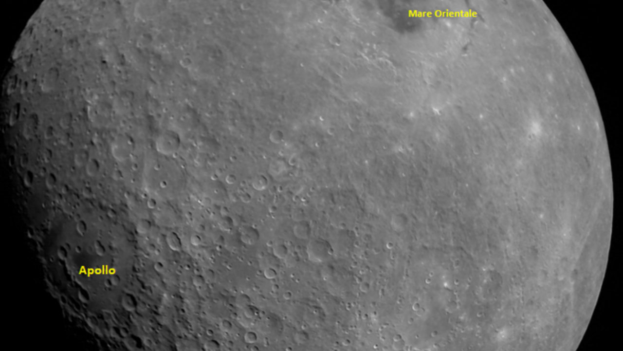 First image of the Moon captured by Chandrayaan 2 at a height of about 2,650 km from the Lunar surface on August 21. Mare Orientale basin and Apollo craters have been identified in the picture by ISRO. (Image: Twitter/@isro)