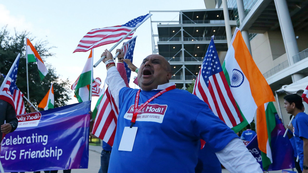 A huge gathering of supporters arrived at the sprawling NRG Stadium to watch PM Modi's address (Image: Reuters)