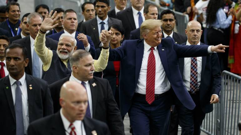 PM Modi also invited Trump to India along with his family. In this picture, Modi and Trump are seen at the NRG stadium after their addresses (Image: AP)