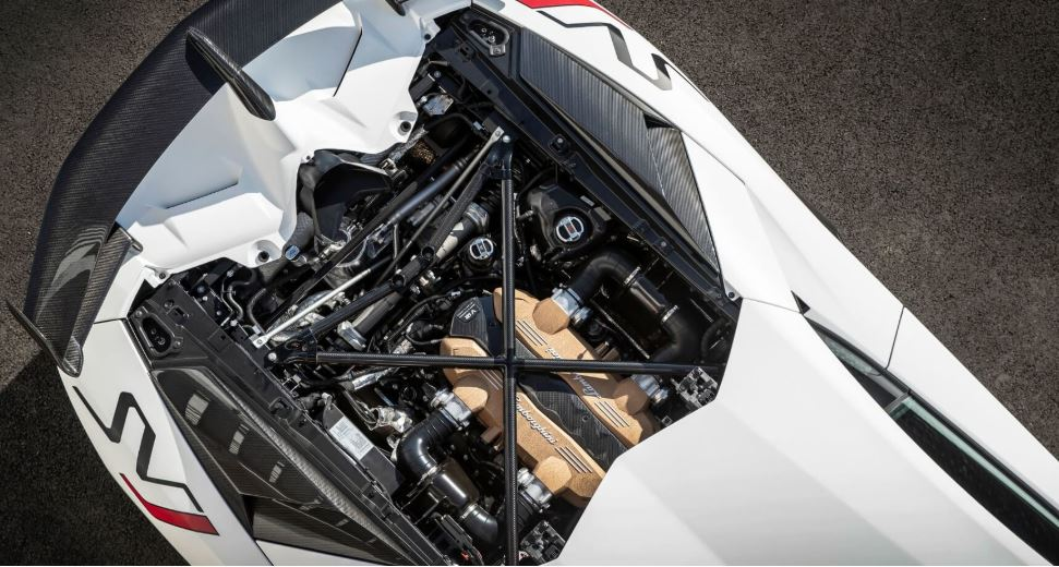 The Aventador SVJ 63 is a powered by the same 6.5-litre naturally aspirated V12 as the standard Aventador SVJ. However, its refinement and power optimization have bumped up the figures to 770 BHP of maximum power and 720 Nm of peak torque. (Image source: Lamborghini India)