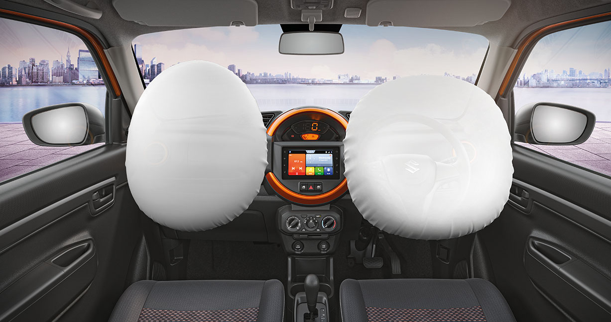 S-Presso comes equipped with two airbags for front passengers, anti-lock braking system with electronic brake force distribution, seat belt reminder and high speed alert. Reverse sensors complete the safety package of the car. It uses 40 percent high tensile steel that ensures stronger, safer and sturdier structure (Image: Maruti Suzuki)