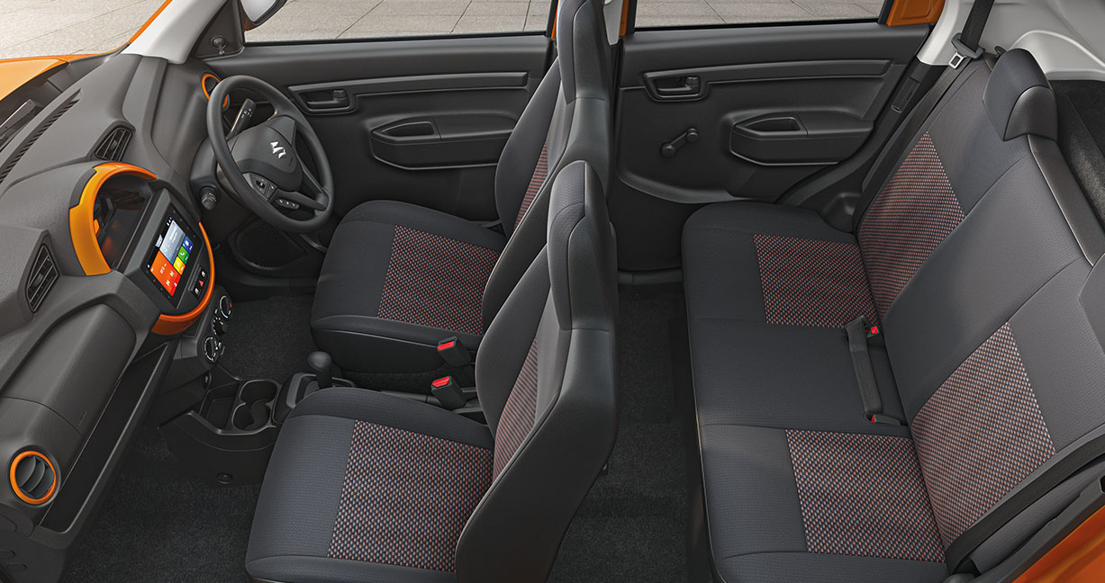 The S-Presso gets an all-black interior with hints of body-coloured inserts such as that on airconditioning vents and digital instrument cluster (moved the middle from behind the steering). Steering wheel gets audio and telephony controls. There is also a 12V socket, USB and AUX inputs (Image: Maruti Suzuki)