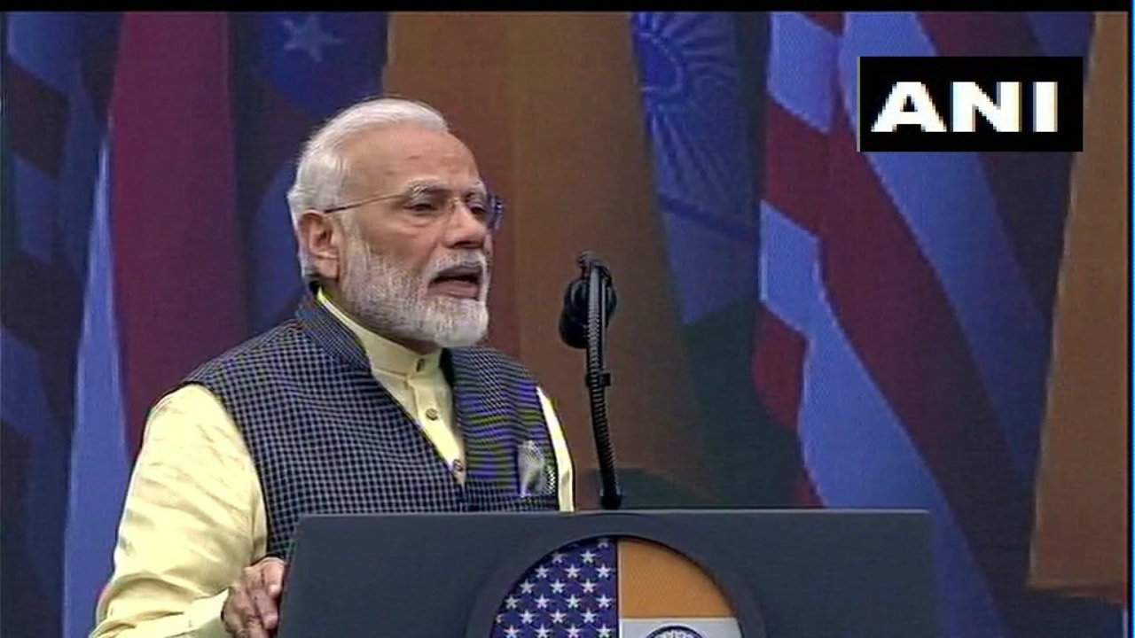 During his address, PM Modi stressed on issues such as development, corruption, terrorism and his government's decision to revoke provisions of Article 370. (Image: ANI)