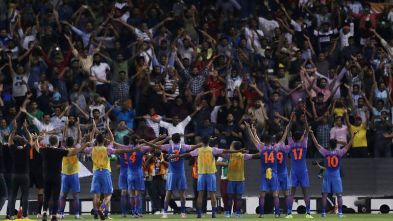 Indian football team celebrates with fans after the match in Doha, Qatar. (Image: Reuters)