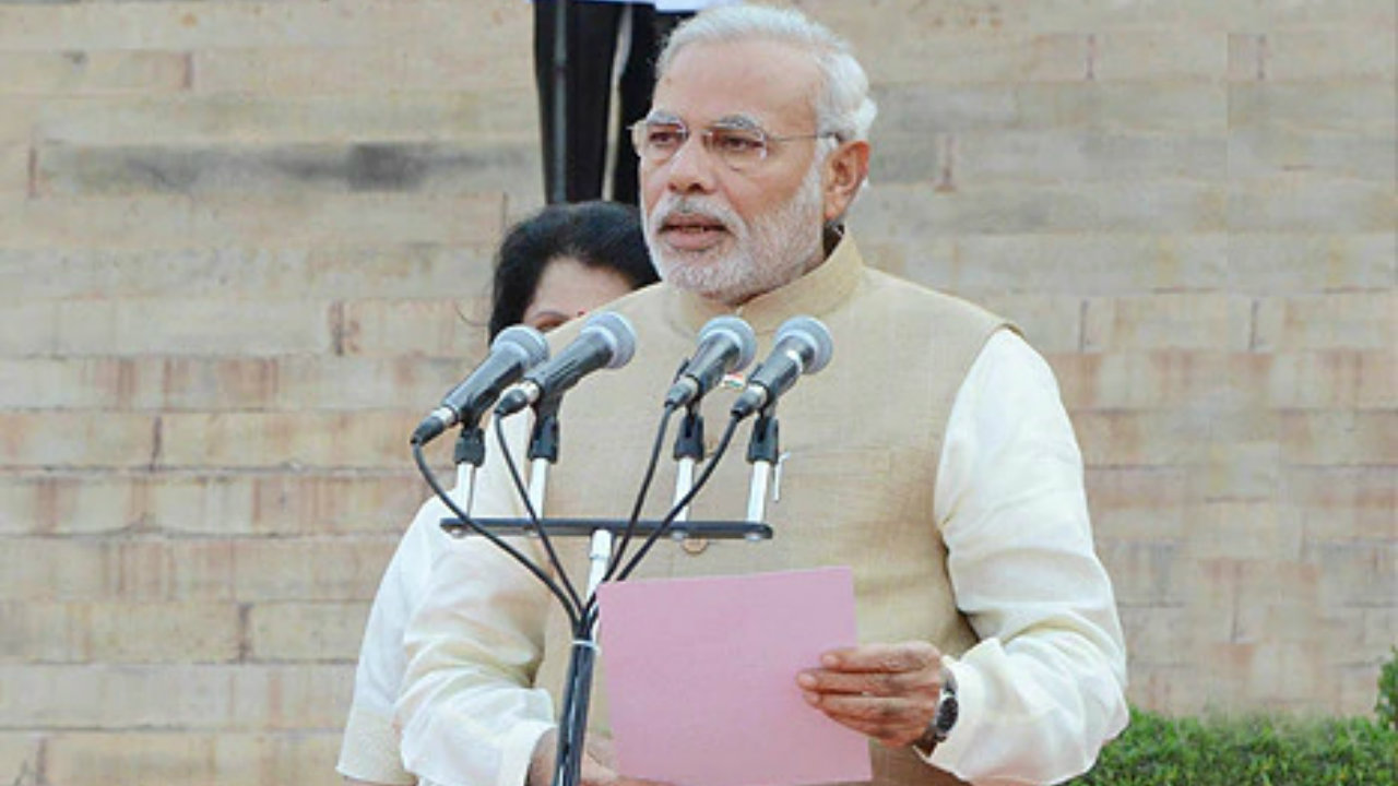 2014: Sworn-in as the PM for the first time after the BJP received a massive mandate. (Image: narendramodi.in)