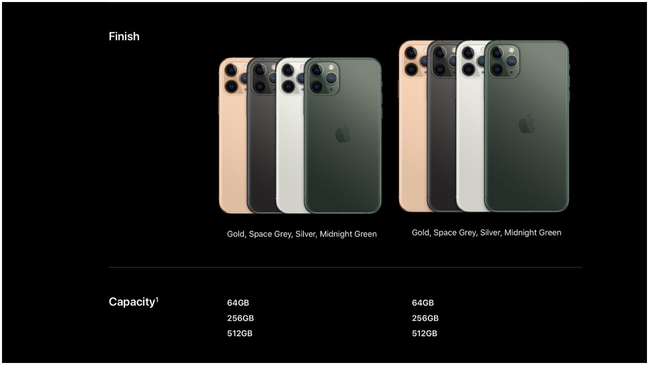 iPhone 11 Pro and 11 Pro Max would be available in four colours and three storage options. iPhone 11 Pro starts at Rs 99,900 for the 64GB variant, iPhone 11 Pro Max 64GB storage variant is priced at Rs 1,09,900. Both smartphones go on sale starting September 27. (Image: Apple)