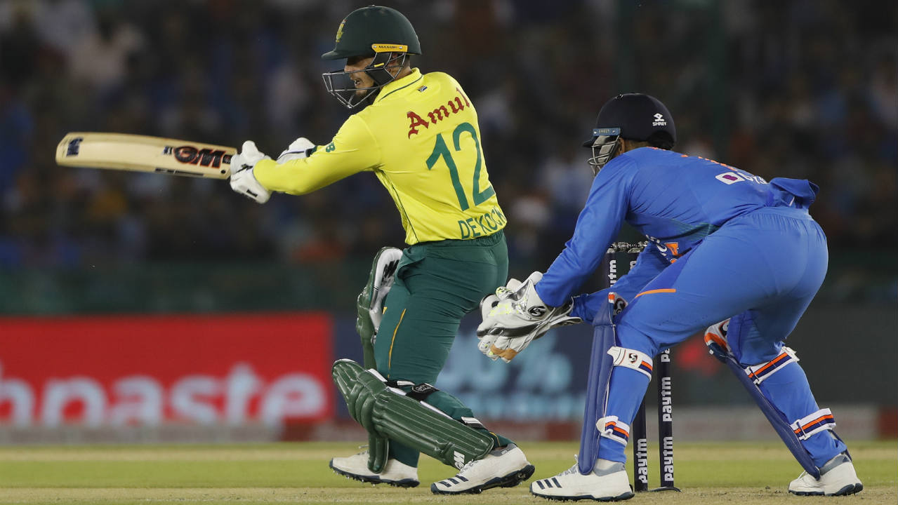 South Africa captain Quinton de Kock got off to a quick start as he hit Navdeep Saini for three consecutive boundaries in the 3rd over. (Image: AP)