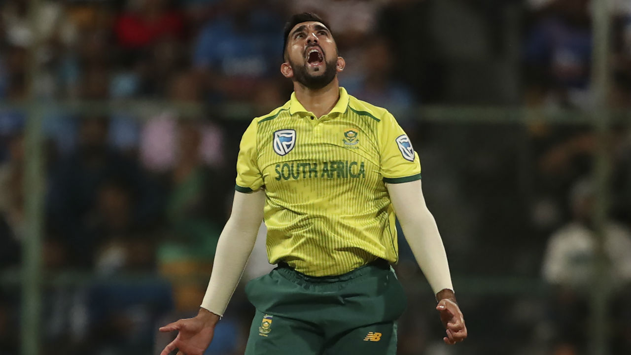 Dhawan's blitz was cut short by South African spinner Tabraiz Shamsi. Dhawan in an attempt to a play a big short against Shamsi holed a catch to Temba Bavuma. Dhawan made 36 off 35. (Image: AP)