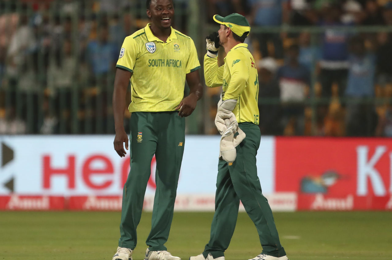 Rabada bowled the last over of India's innings and South Africa picked three Indian wickets as the Proteas restricted India to a sub-par total of 134/9 in 20 overs. (Image: AP)