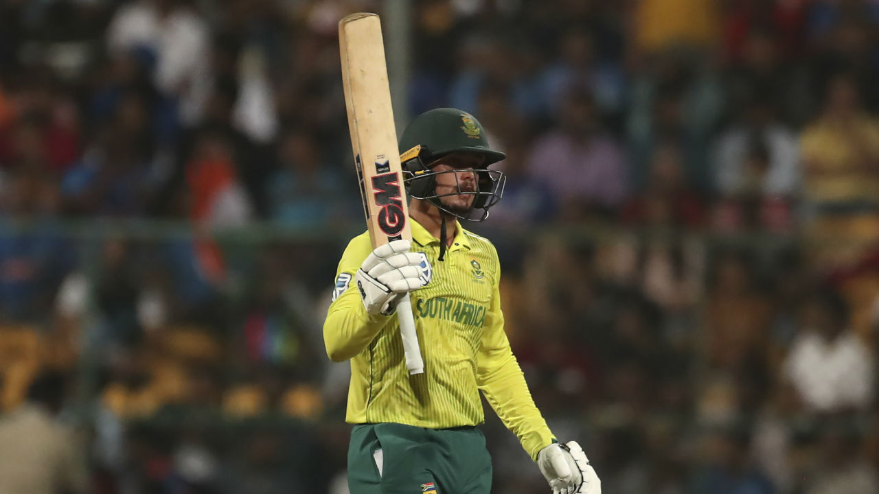 de Kock hit back-to-back fifty and remained not-out on 79 off 52 as South Africa cruised to a 9-wicket win and level the series. For hitting two fifties de Kock also won the Player of the Series award. (Image: AP)