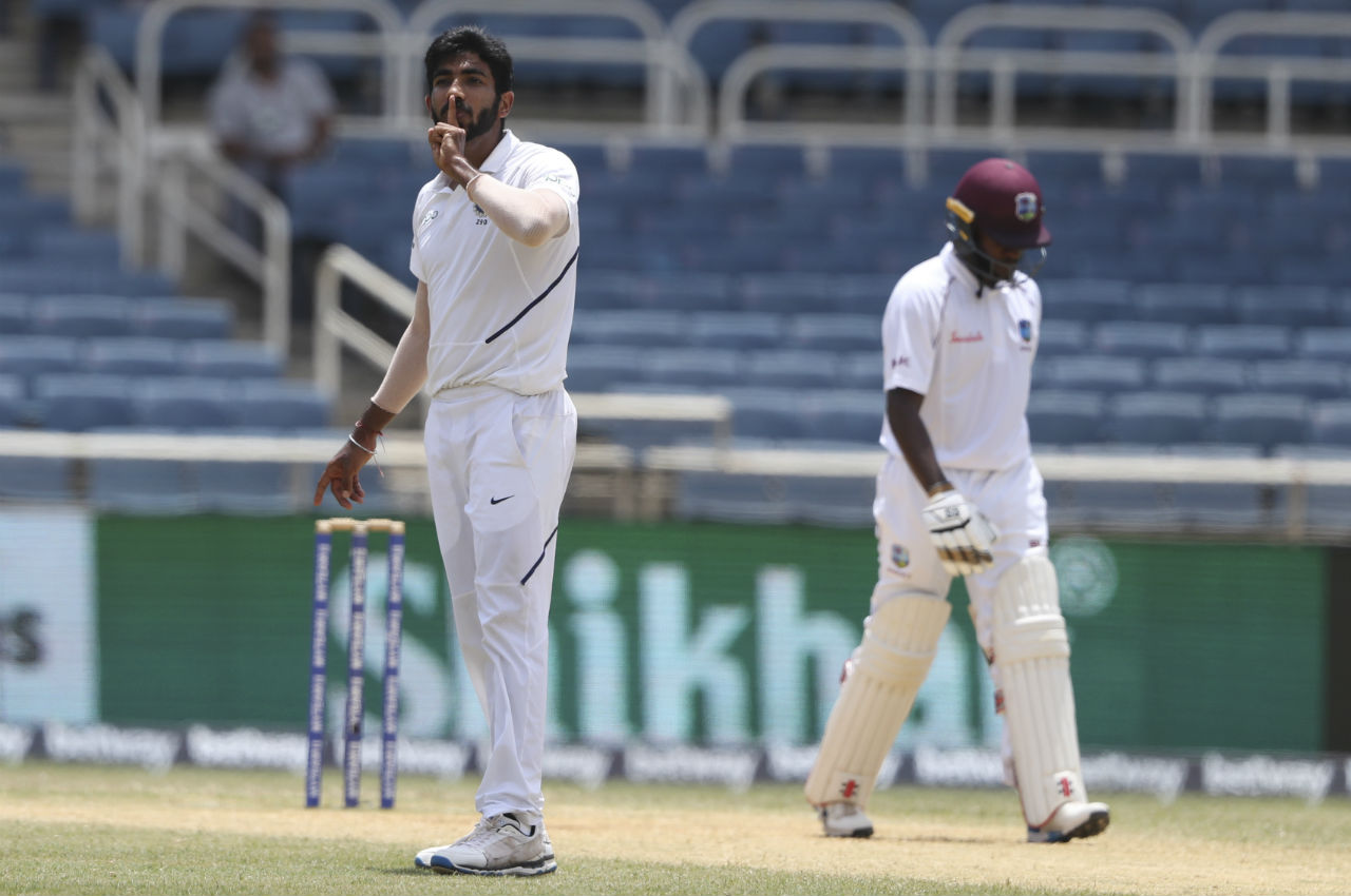Brooks and Blackwood put up a 61-run partnership before Jasprit Bumrah forced an edge from Blackwood's bat which was safely pouched by Rishabh Pant behind the wickets. Blackwood made 38 as West Indies were 159/5. (Image: AP)