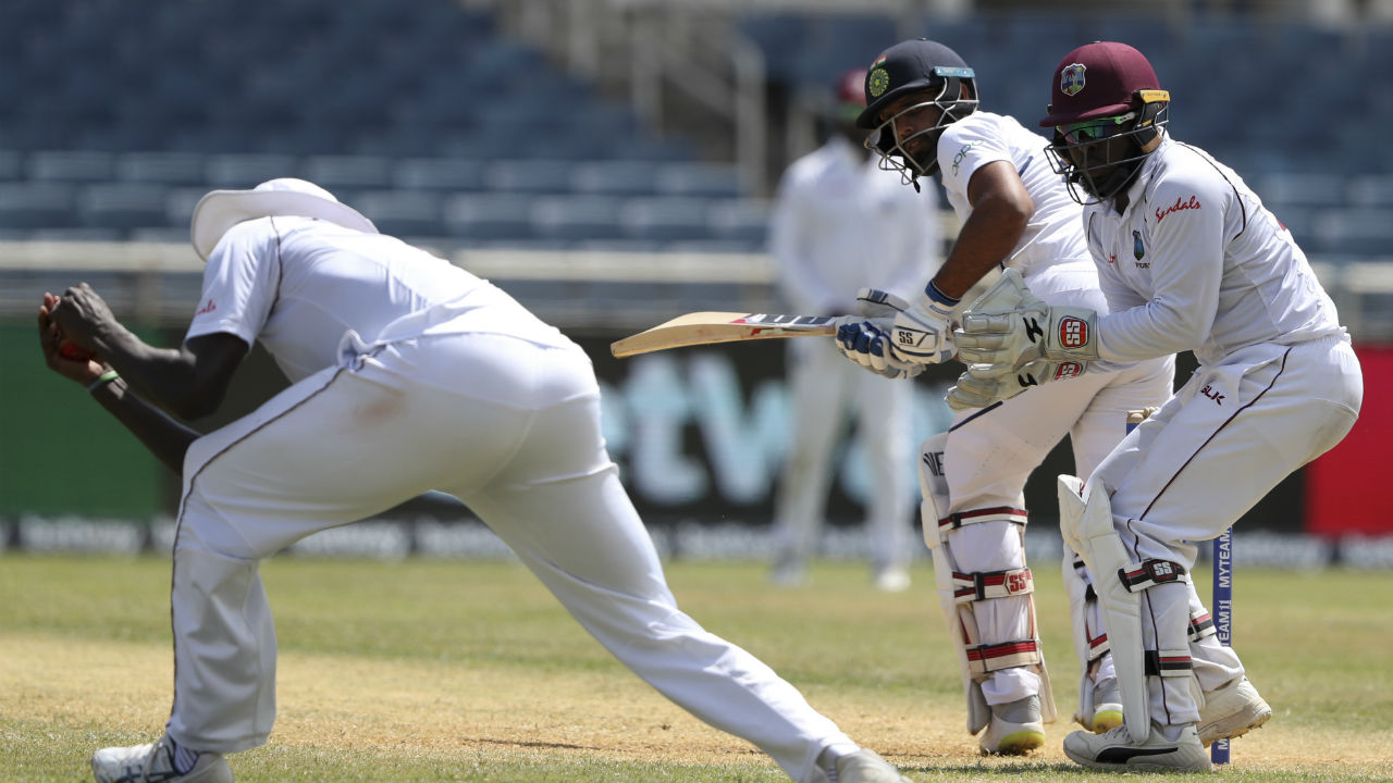 After Pujara's dismissal, Hanuma Vihair and Ajinkya Rahane carried India till Tea break. India were 73/4 leading West Indies by 373 runs when the umpires called for Tea. (Image: AP)