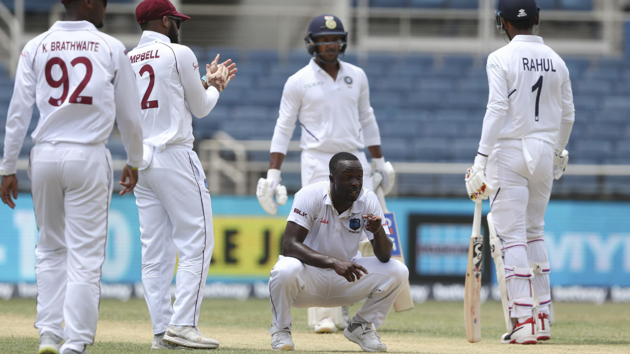 Indian openers KL Rahul and Mayank Agarwal failed to capitalize on a lead of 299 runs as Agawal was trapped LBW by Roach on a personal score of 4. India were 9/1. Mayank and Cheteshwar Pujara took India to 16/1 at Lunch. (Image: AP)
