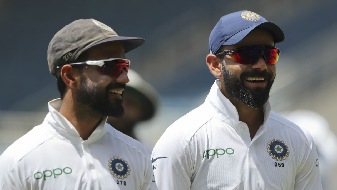 Indian captain Virat Kohli and vice-captain Ajinkya Rahane were all smiles when West Indies were all-out on 117. Hamilton was dismissed on 5 by Ishant and Roach was the last wicket to fall when Ravindra Jadeja got Roach caught by Mayank Agarwal. India thus had a lead of 299 runs. Kohli had the option of enforcing the follow-on but he chose not to. (Image: AP)