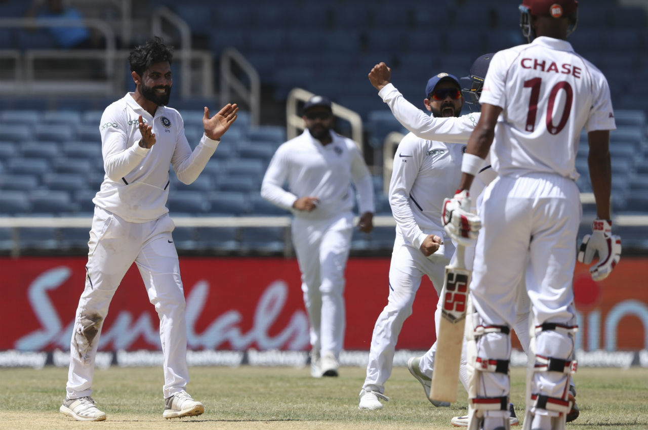 Ravindra Jadeja picked the first wicket of the day when he trapped Chase LBW. Chase made 12 off 36 deliveries as Windies were reduced to 97/3. (Image: AP)