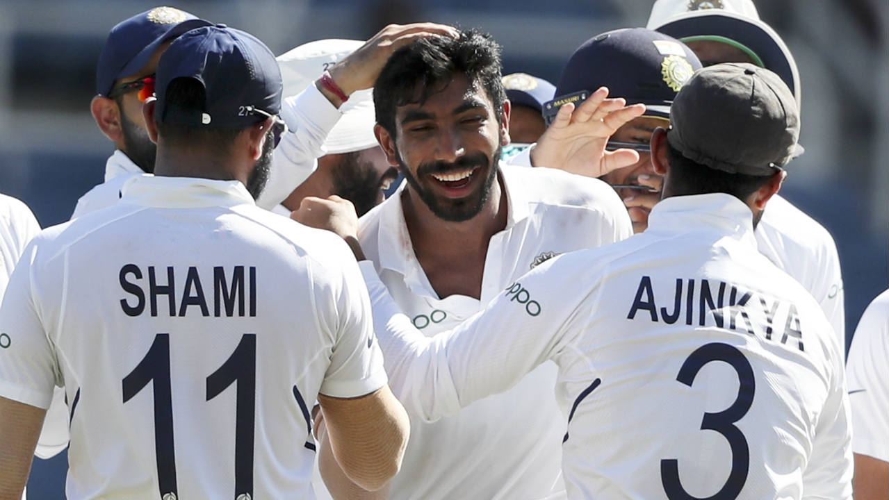 Bumrah made his first error in the 6th over he bowled when Kraigg Brathwaite drove him for a boundary. The pacer however had the last laugh drawing a thick edge from Brathwaite on the very next delivery which Pant did well to collect. Bumrah completed back-to-back 5-fers with figures reading 6-1-10-5. (Image: AP)