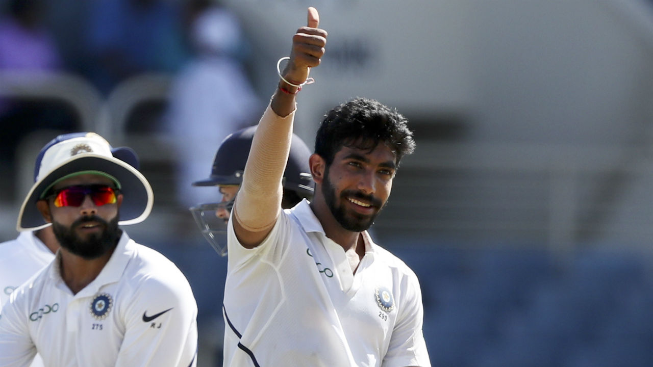 Bumrah wreaked more havoc from this end and had Darren Bravo caught by Rahul at slip in the 9th over. Bravo was at the receiving end of an unplayable delivery which moved away late. (Image: AP)