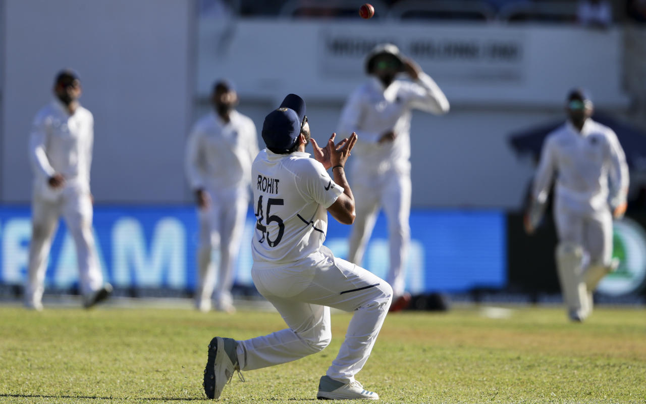 There was a little scare for India when Bumrah was unable to complete the 15th over and had to leave the field. To the team's great relief he was only suffering from a bit of cramp and was able to continue. Bumrah returned to the attack in the 29th over and made immediate impact sending down a short ball to Jason Holder who was beaten by pace as he sliced it high to mid-off. Bumrah finished with figures of 9-3-16-6 at Stumps. (Image: AP)