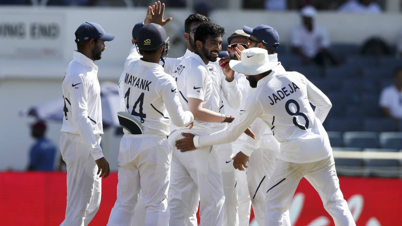 Bumrah then sent back Shamarh Brooks for a 'Golden Duck' sending down a brilliant inswinging delivery which beat the batsman for pace. Brooks went for the review but there was absolutely nothing there to save him. Bumrah was at the cusp of his first career Test hat-trick. (Image: AP)