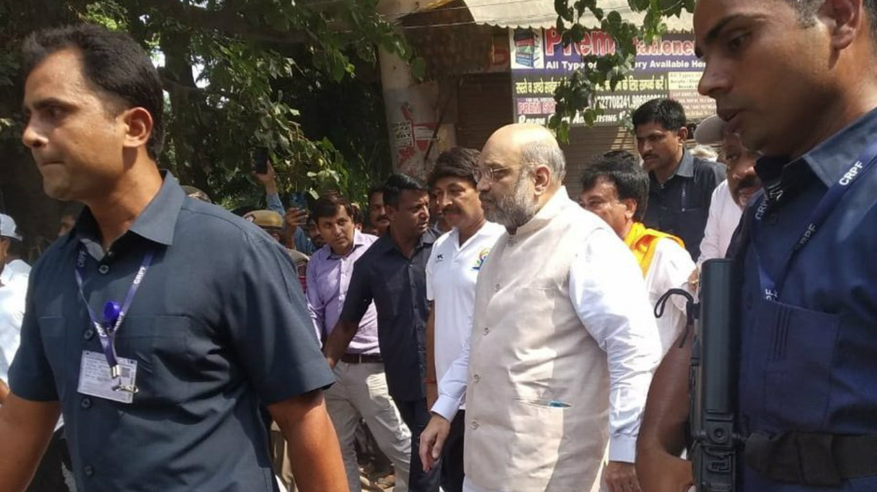 Union Home Minister and BJP national president Amit Shah takes part in 'Gandhi Sankalp Yatra,' in Shalimar Bagh, New Delhi (Image: ANI)