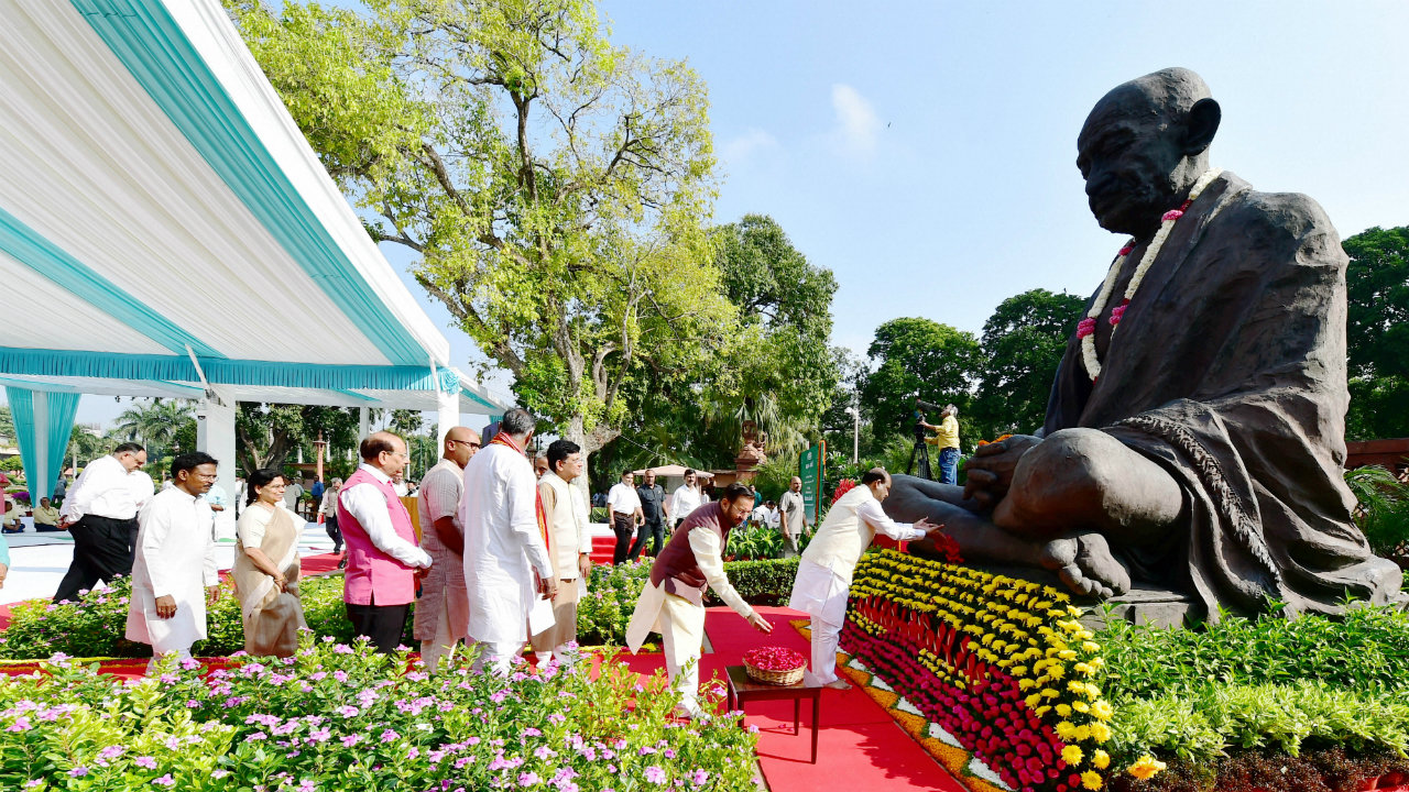 As India celebrates the 150th anniversary of its Father of Nation, Mahatma Gandhi, several senior leaders from both the country's ruling and Opposition parties came out to pay their homage to the Mahatma, fondly called 'Bapu'. In this picture, Lok Sabha Speaker Om Birla and other ministers pay tributes (Image: PTI)