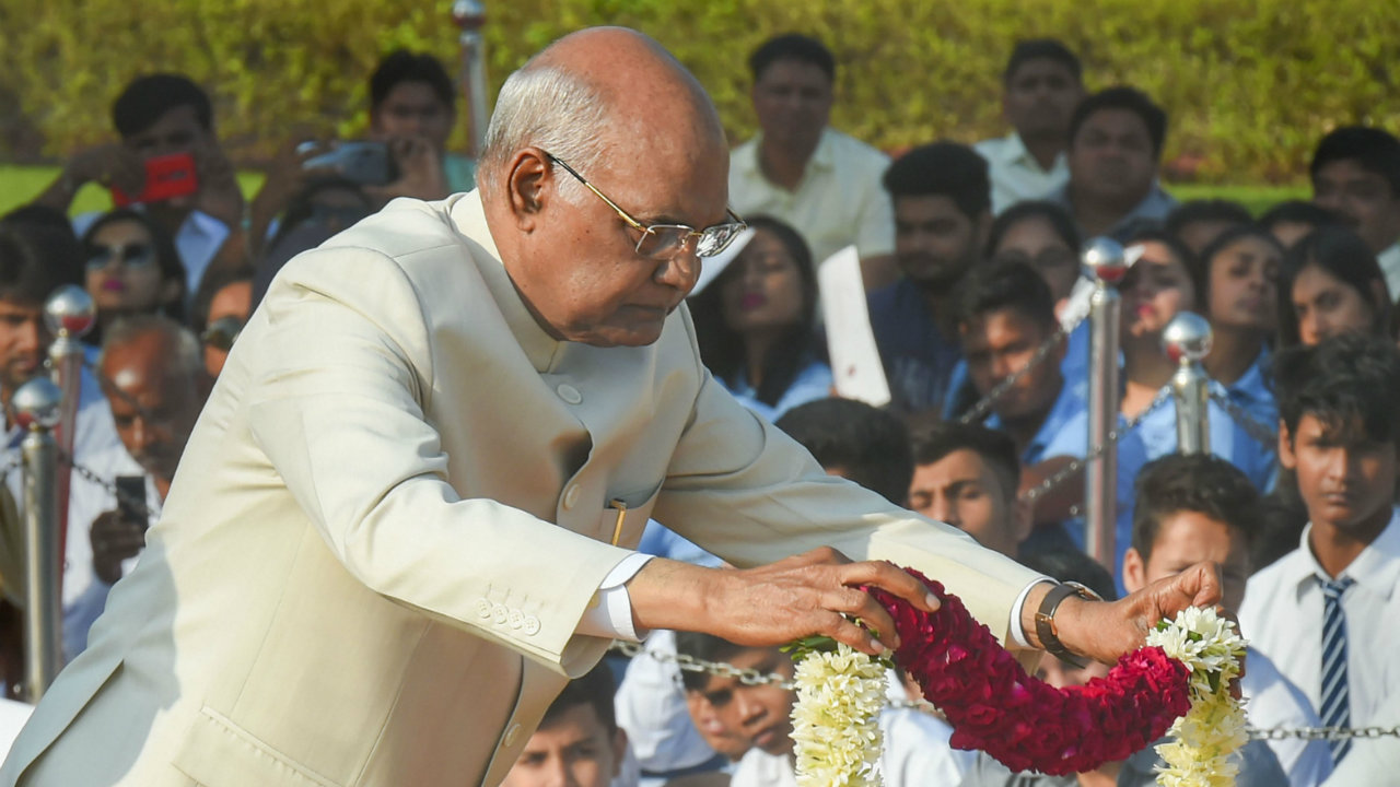 President Ram Nath Kovind pays homage to Mahatma Gandhi on the occasion of his 150th birth anniversary at Rajghat, in New Delhi (Image: PTI)