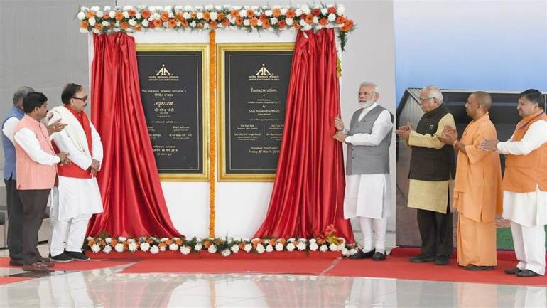 PM Modi inaugurating the Hindon Airport Civil Terminal in March (Imahe: Wikicommons)