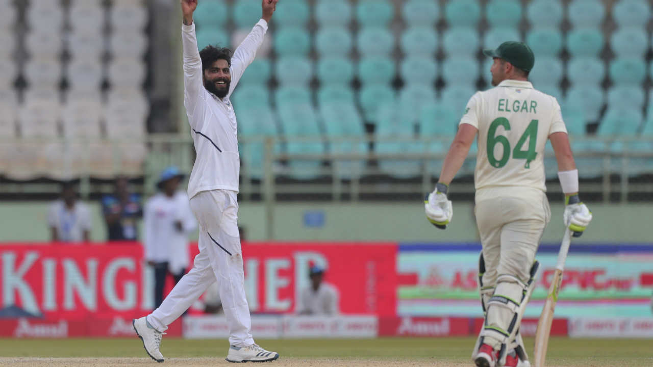 Jadeja was the man who finally ended Elgar's knock. The South African opener had made 160 off 287 balls hitting 18 boundaries and 4 sixes. Elgar had also put up a 164 run partnership with de Kock. (Image: AP)
