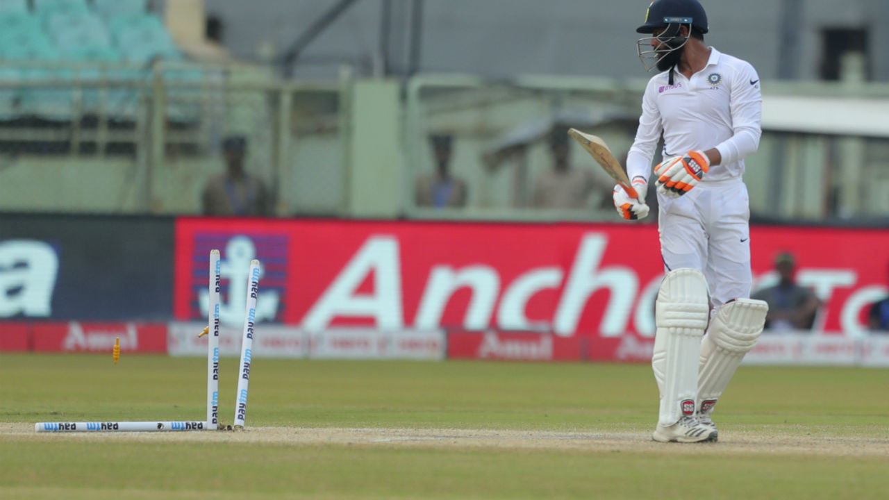 Jadeja scored a quickfire 40 before he was clean bowled by Rabada. Kohli and Ajinkya Rahane remained not out on 31 and 27 respectively when the Indian captain declared the innings on 323/4 thus setting a target of 395 for South Africa. (Image: AP)