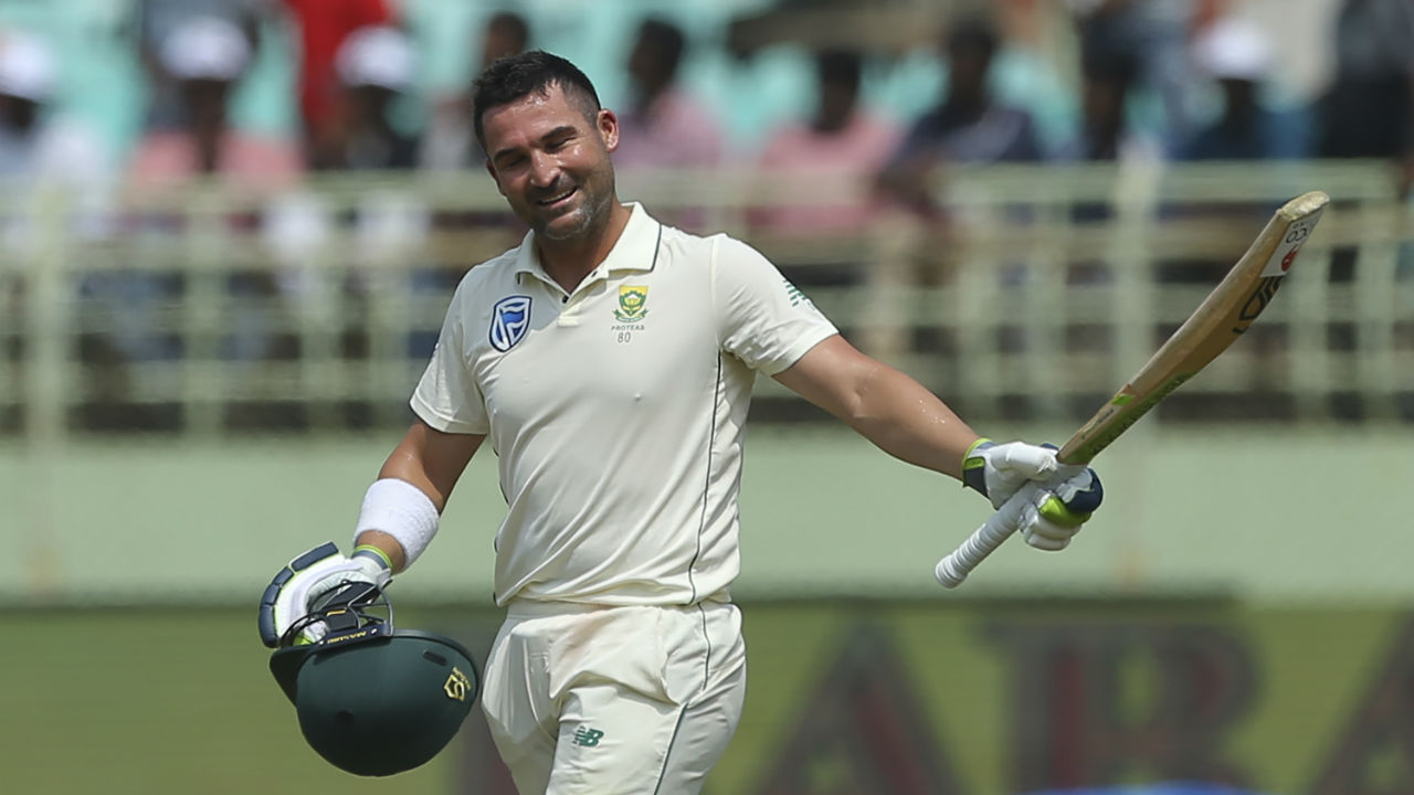 Dean Elgar continued his resilient stay at the crease and reached his hundred with a six against Ashwin in the 60th over. Elgar became the first South African since Hashim Amla back in 2010 to register a Test century in India. (Image: AP)