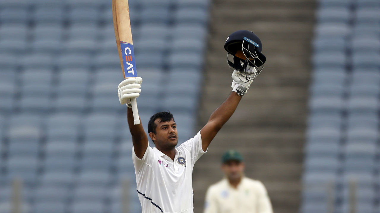 Agarwal continued with his good form and completed his second hundred of the series. But the Indian opener fell victim to Rabada soon after he had notched his ton. Agarwal walked back after making 108 off 195 deliveries hitting 16 boundaries and 2 sixes as India were 198/3. (Image: AP)