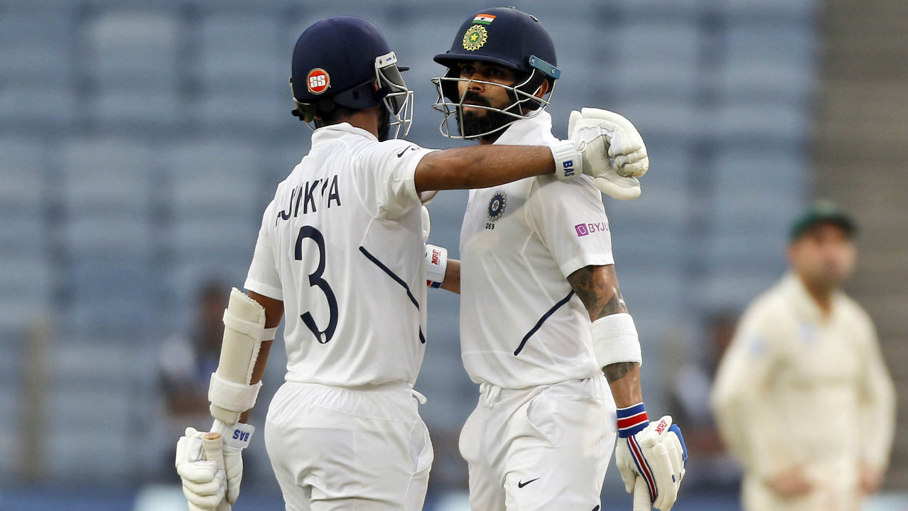 Skipper Kohli was then joined by his deputy Ajinkya Rahane and together they ensured India end the day without any further casualties. The captain and vice-captain stitched together an unbeaten 75-run partnership during which Kohli also brought up his half-century in the 81st over with a boundary against Philander. India reached 273/3 at Stumps with Kohli batting on 63* and Rahane on 18*. (Image: AP)