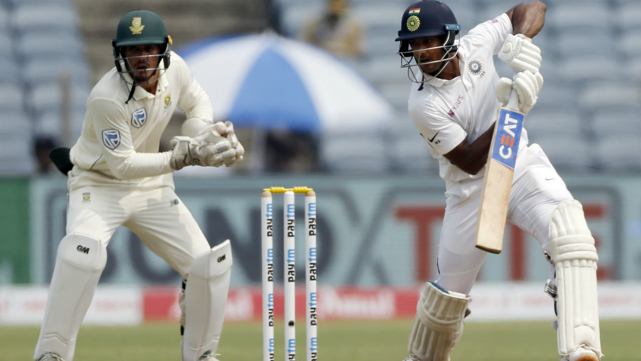 Mayank Agarwal though looked in good touch and together with Cheteshwar Pujara steadied the Indian innings. The duo added 52 runs off the next 93 deliveries helping India reach 77/1 at Lunch on Day 1. India were in a better position going into the break having lost just one wicket as the pitch had a lot to offer to the pacers in their first spells. (Image: AP)