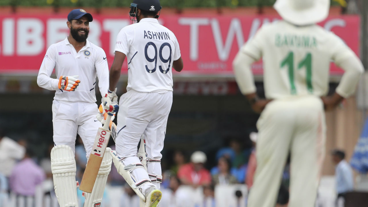 From the other end Ravindra Jadeja played a sedate innings of 51 off 118 deliveries before George Linde dismissed the Indian all-rounder. India were 450/7 when Jadeja walked back to the pavilion. (Image: AP)