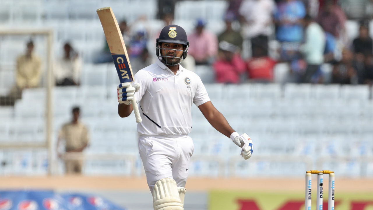 Rohit also continued his dominant and soon brought up his 150 off 199 balls in the 70th over. It was the third time that Rohit reached the 150-run mark in his Test career. (Image: AP)
