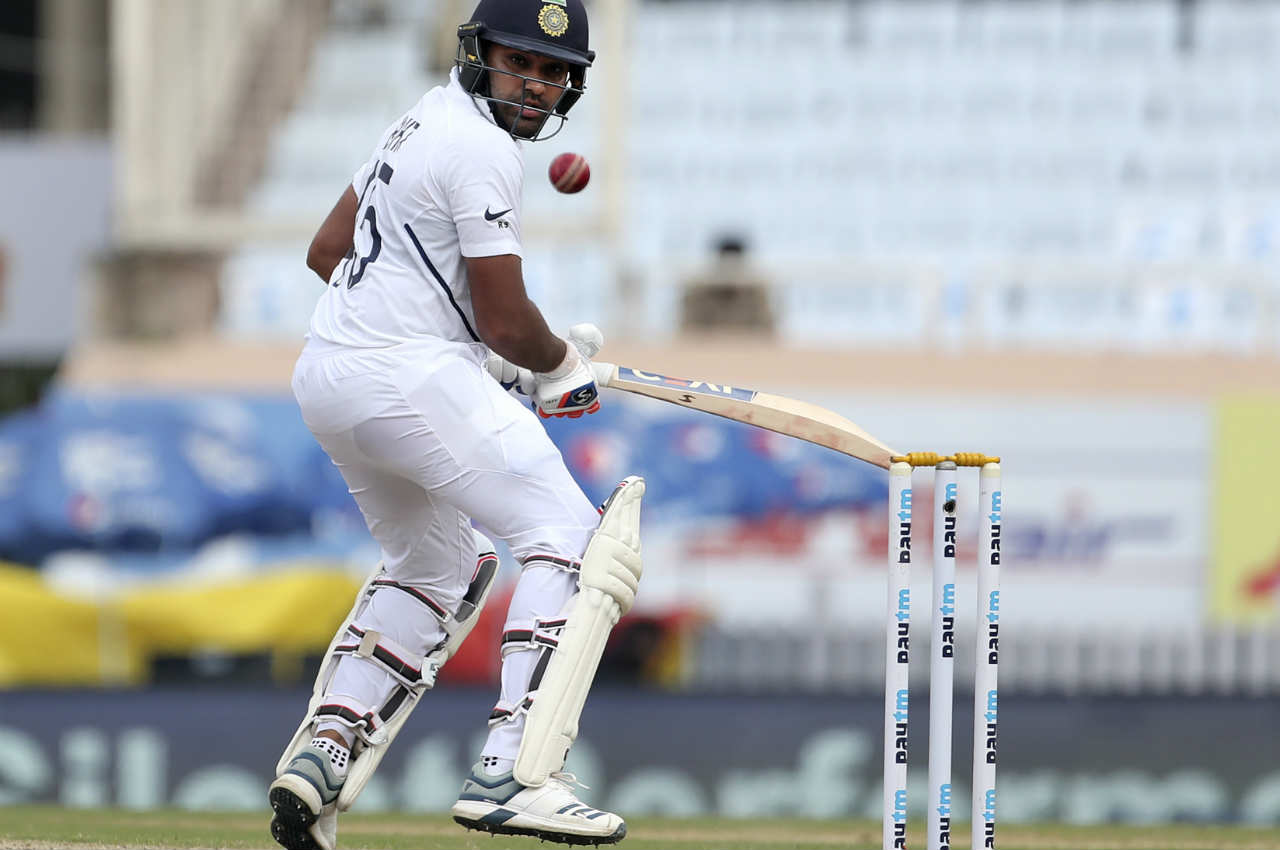 The suspense over Rohit's first Test double-hundred stretched into Lunch as the batsman was on 199 along with Ravindra Jadeja when the umpires called for Lunch Interval on Day 2. India were 357/4. (Image: AP)