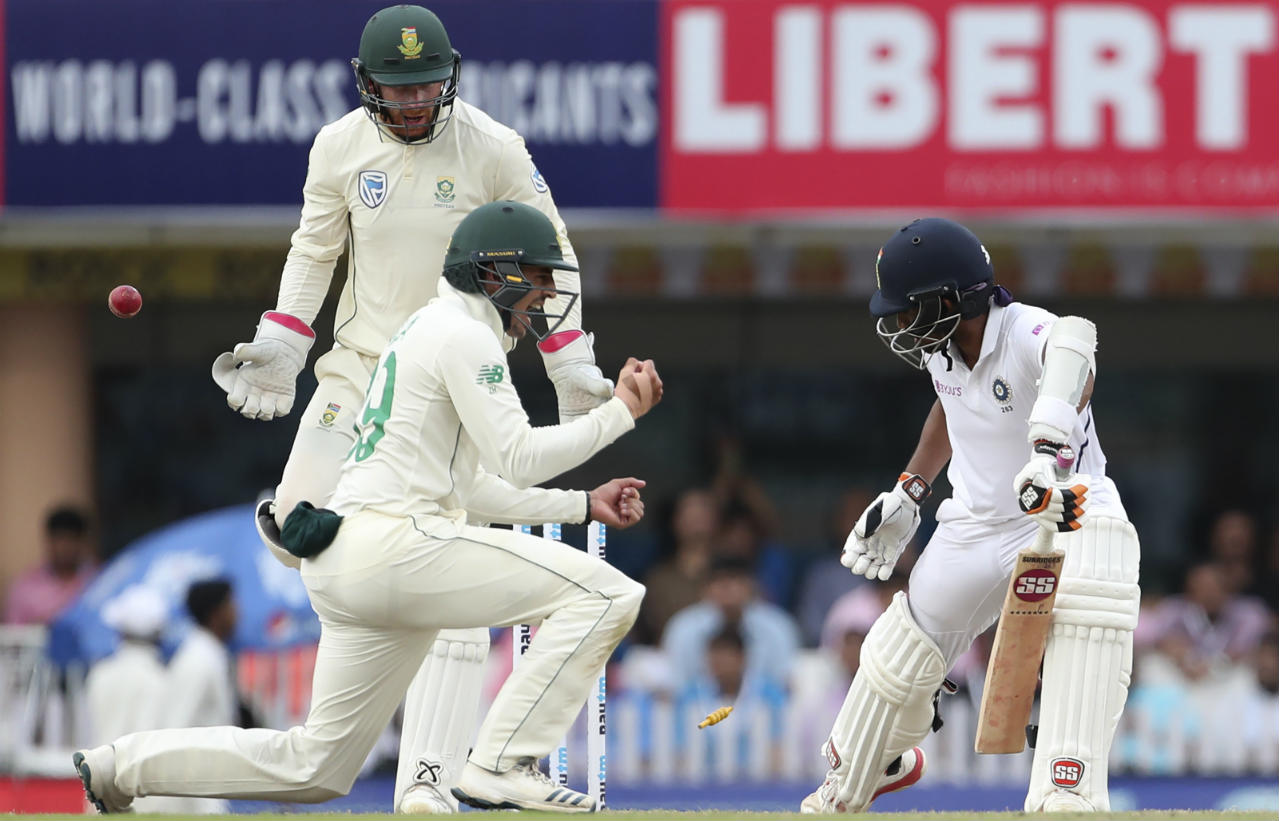 Wriddhiman Saha and Ravindra Jadeja added 47 runs off 92 balls for the sixth wicket. The debutant Linde then struck again in the 104th over as he sent down a straight delivery which whizzed past the inside edge and hit the stumps as Saha played for the turn. Saha returned with 24 off 42 balls. (Image: AP)